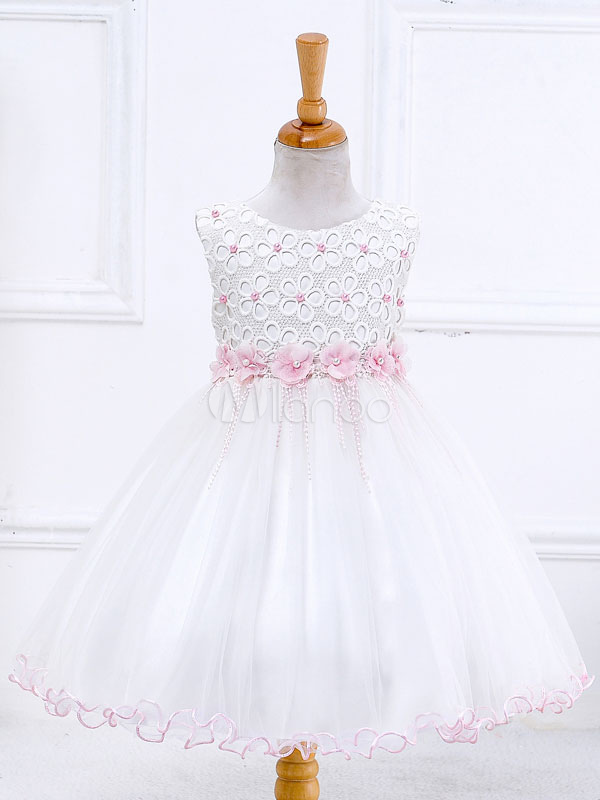 Flower Girl Dresses White Princess Tutu Dress Lace Pearls Tassels Satin Bow Knee Length Kids Dinner Party Dress