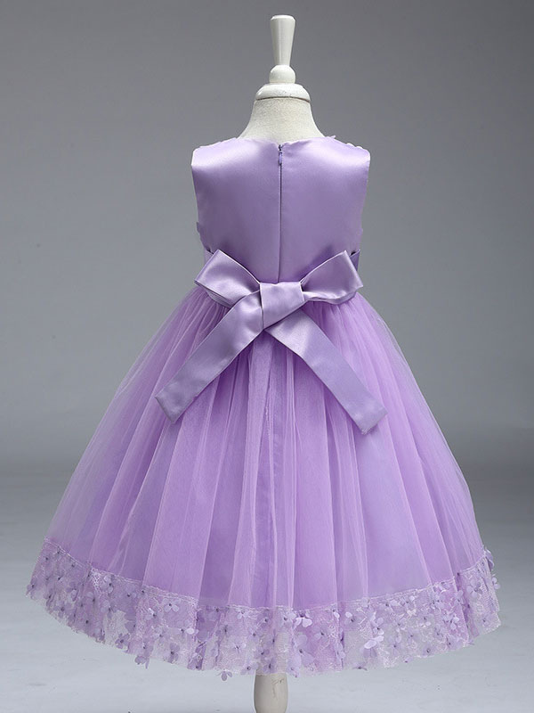 f08d9135b ... Vestidos de niña de las flores Princesa Lila de encaje morado Tulle  Ribbon Bows Vestido de ...