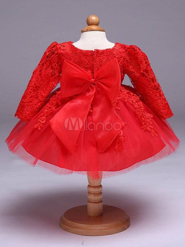 Blumen-Mädchen-Kleider Rote Spitze-Tulle-Ballettröckchen-Kleid-lange ...
