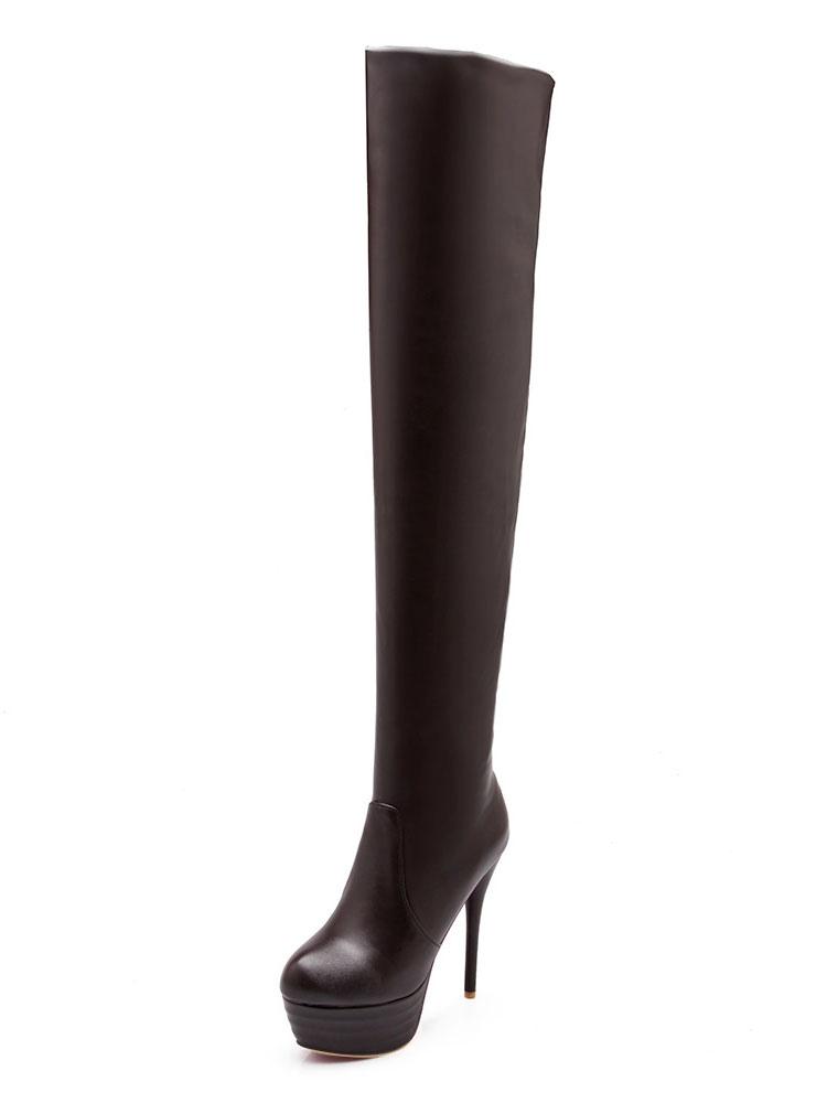 Thigh High Boots High Heel Black Platform Slip On Over Knee Boots For Women