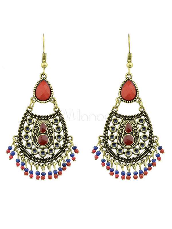 Buy Golden Statement Earrings Ethnic Style Embossed Beading Fringes Women's Dangle Earrings for $4.99 in Milanoo store