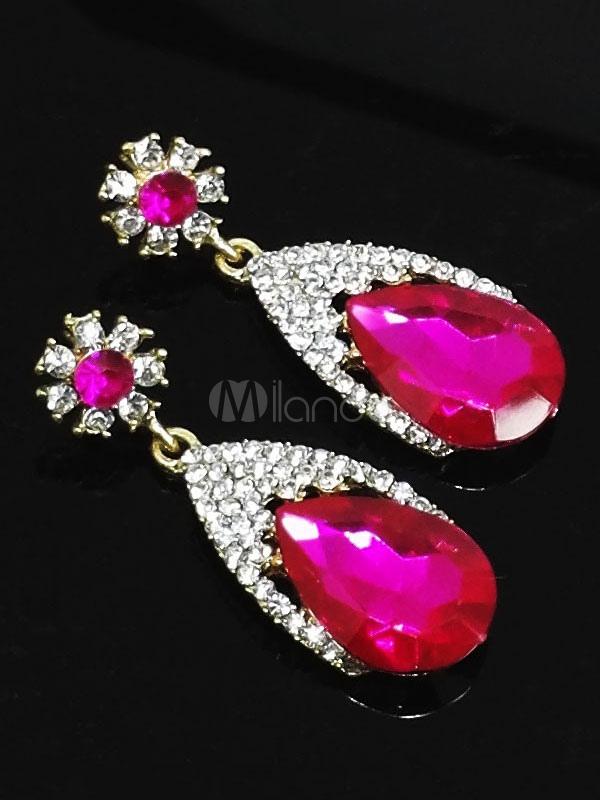 Rose Drop Earrings Wedding Party Rhinestones Beaded Women's Pendant Earrings