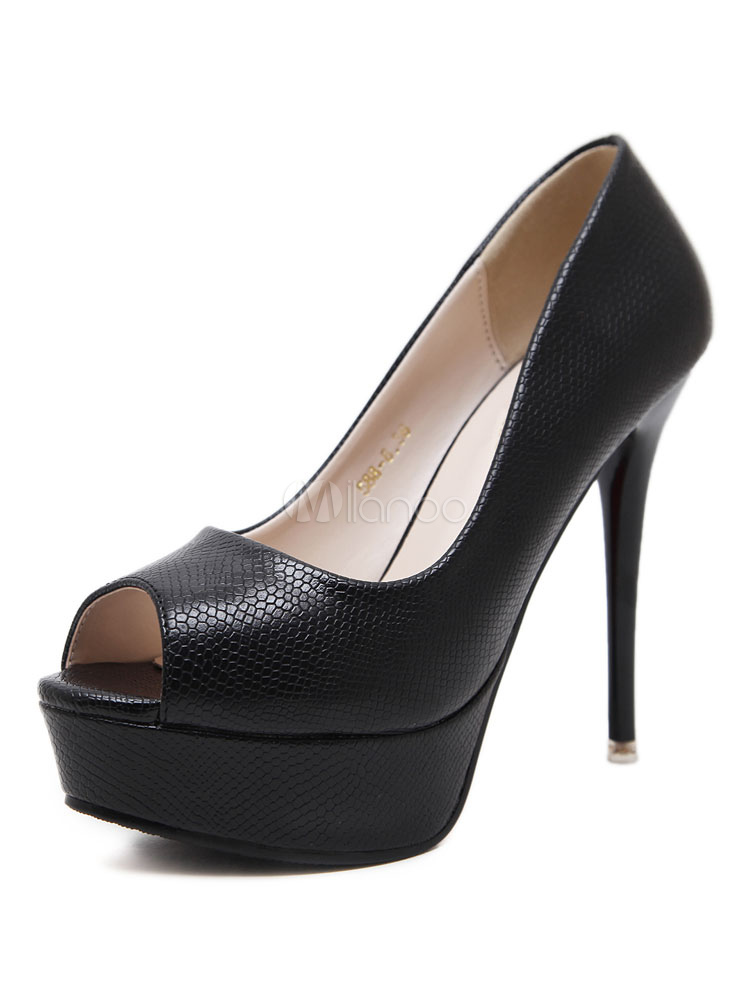 Zapatos Peep toe de PU Color liso de tacón de stiletto para mujer WLWVWu