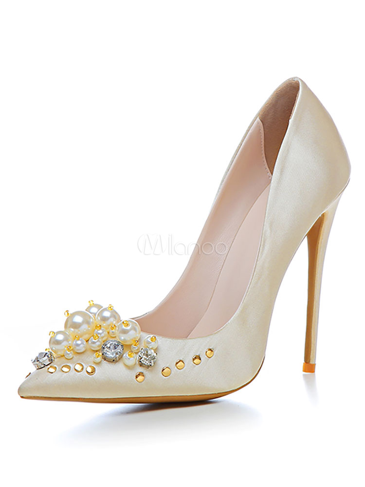 Women's High Heels Gold Pointed Toe Pearls Detail Slip On Wedding Shoes