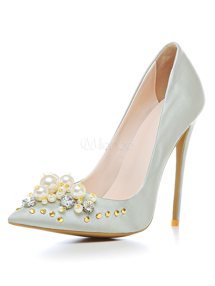 Zapatos de puntera puntiaguada de tacón de stiletto de PU elegantes Fiesta de bodas nRvxlKW