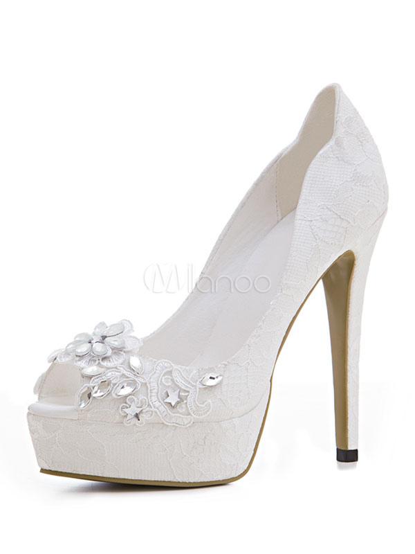 Zapatos de tacón de stiletto de punter Peep Toe de encaje para boda VB2ym4tcRU