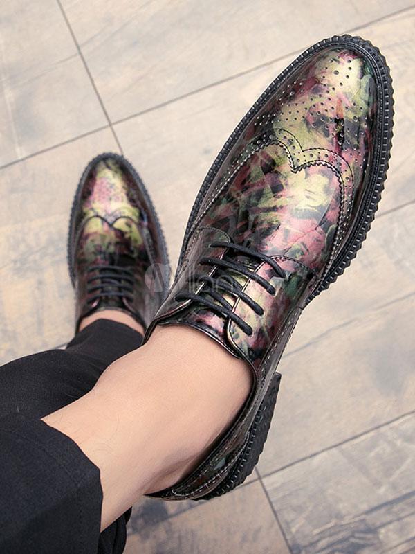 Zapatos de vestir de tacón gordo de puntera redonda de PU Artísticos estilo moderno para hombre Invierno v9Ju4