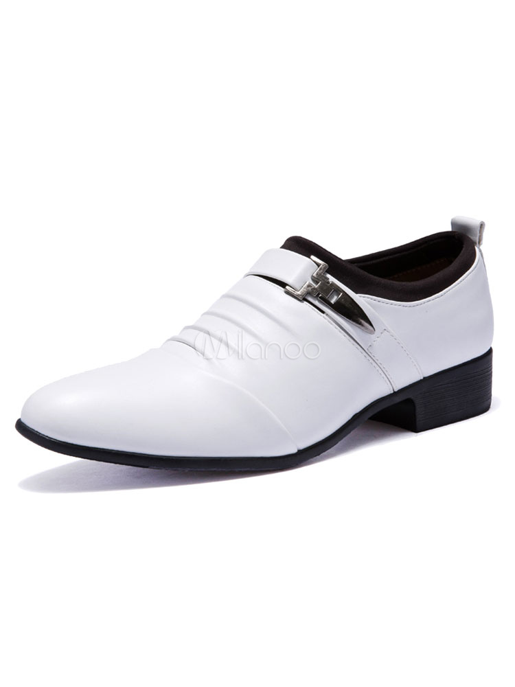White Dress Shoes Men's Pointed Toe Chunky Heel PU Metal Details Flat Formal Shoes