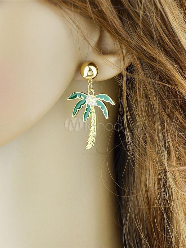 Women's Statement Earrings Tropical Palm Tree Embossed Green Dangle Earrings