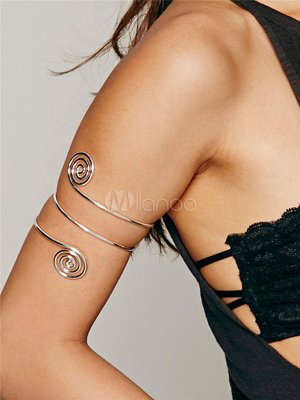 Women's Silver Armlet Metal Details Spiral Swirly Upper Arm Jewelry