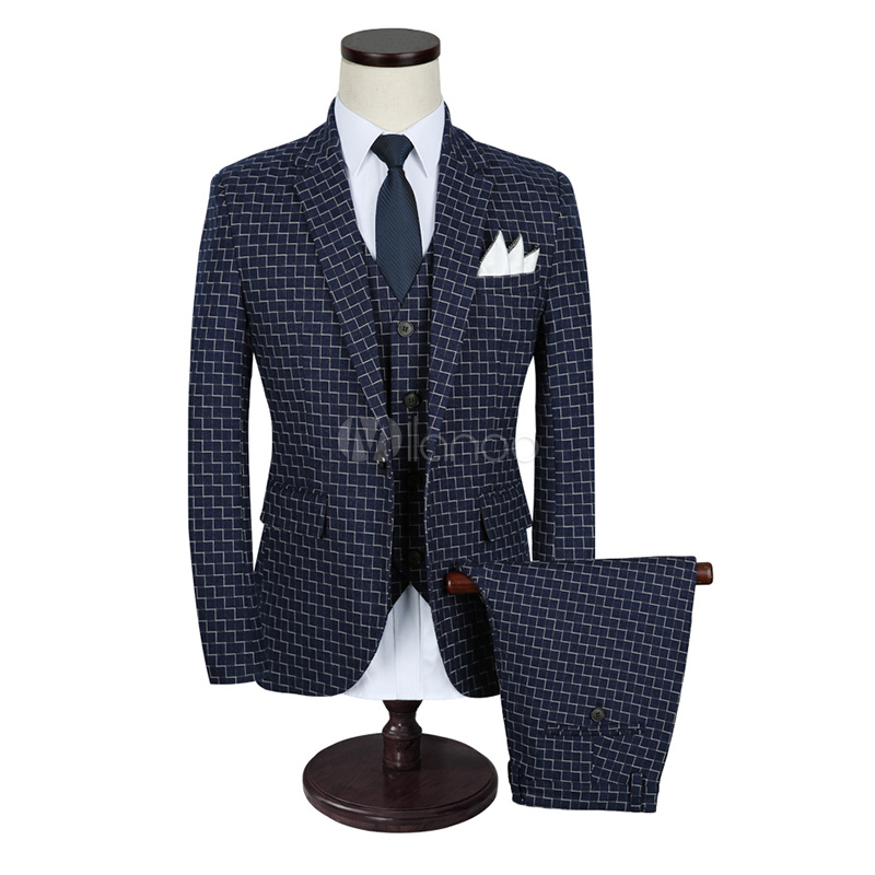 Tuxedo Wedding Suits Dark Navy Formal Center Vent Notch Laple Wavy Pattern Groom Suits In 3 Pieces
