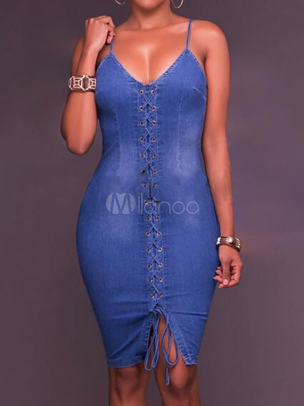 Buy Denim Bodycon Dress Blue Sleeveless Lace Up Spaghetti Straps Women's Pencil Dresses for $28.49 in Milanoo store