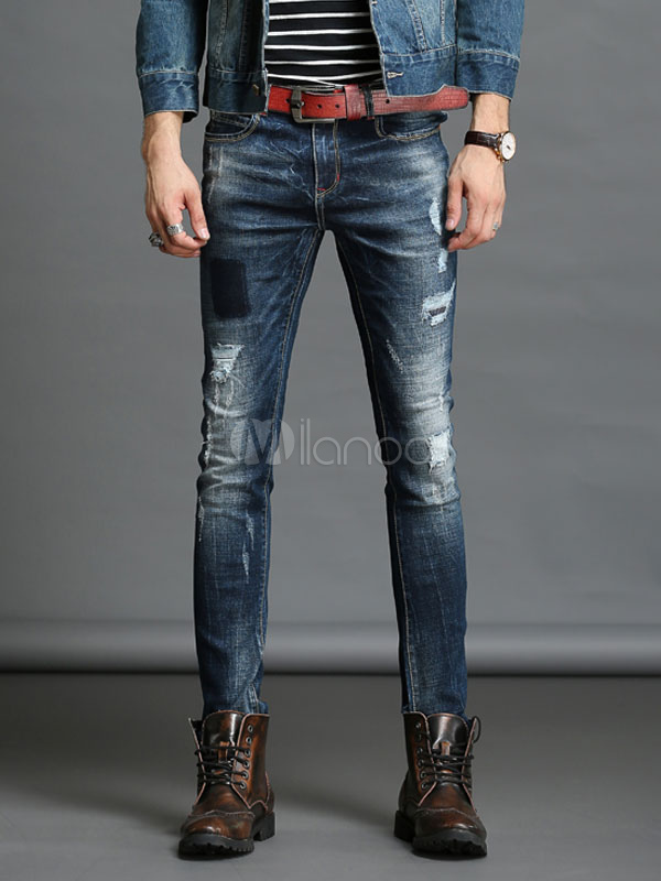 Buy Blue Denim Jeans Men's Distressed Straight Leg Ripped Jeans for $29.44 in Milanoo store