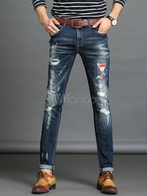 Men's Denim Jeans Blue Straight Leg Ripped Jeans