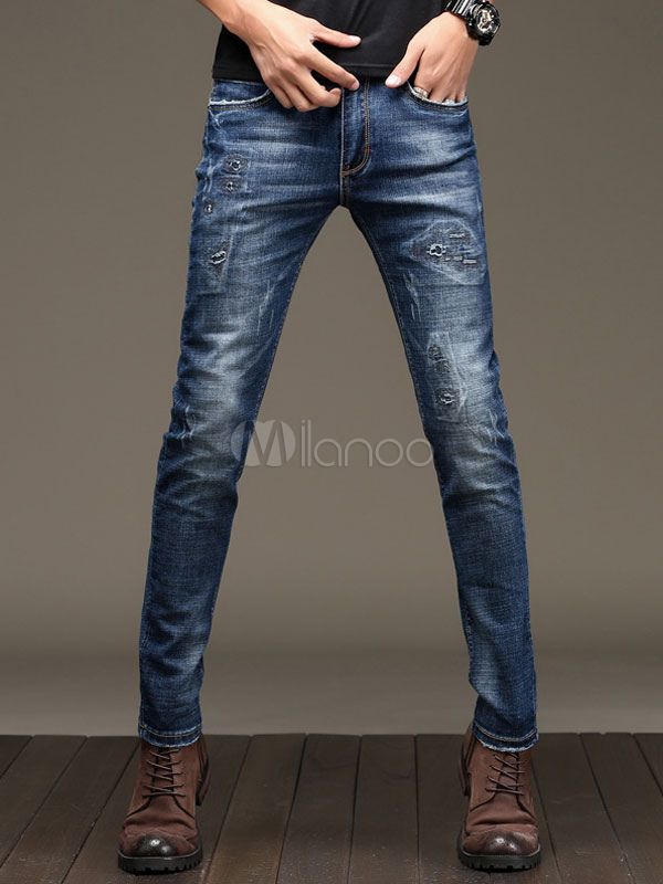 Blue Denim Jeans Men's Straight Leg Wash Distressed Skinny Long Pants