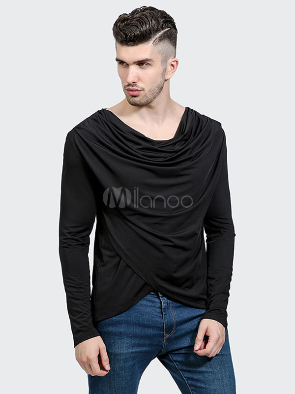 Black Men T Shirt Cowl Neckline Long Sleeve Ruched Casual Top