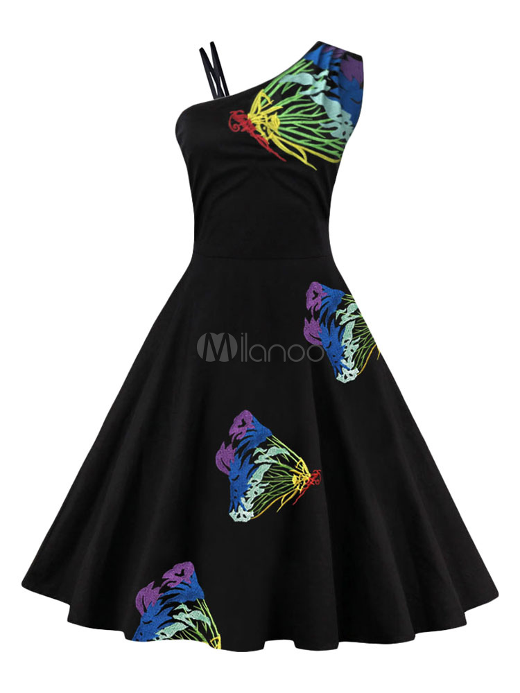 Women Vintage Dress One Shoulder Asymmetrical Butterfly Printed A Line Swing Dresses