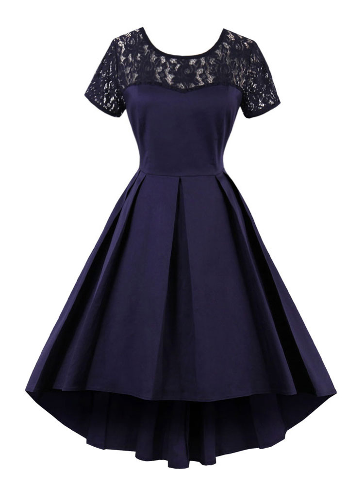 Milanoo / Women's Vintage Dress Deep Blue Round Neck Lace Short Sleeve High Low Skater Dresses
