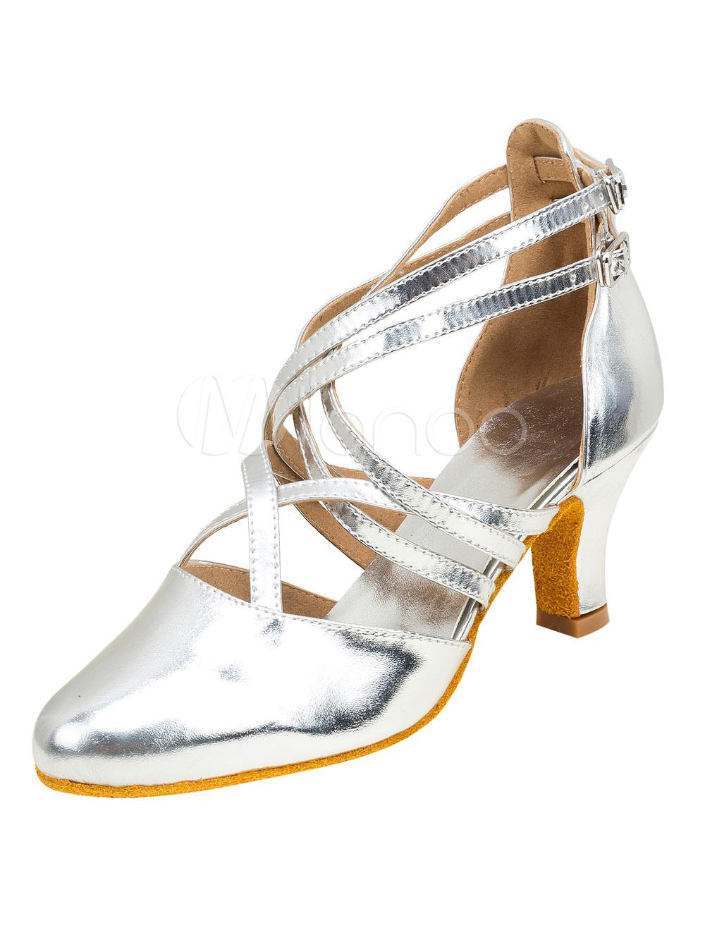 Zapatos de bailes latinos de puntera puntiaguada Tacón bobina de PU plateados para baile Venta Mejor Vendedor Pago de Visa de Liquidación Precio increíble Real Barato Online X1HMFmnGsZ