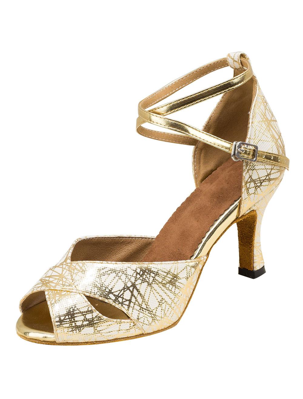 Zapatos de bailes latinos de PU plateados Tacón bobina para baile de punter Peep Toe IDxyxYYd