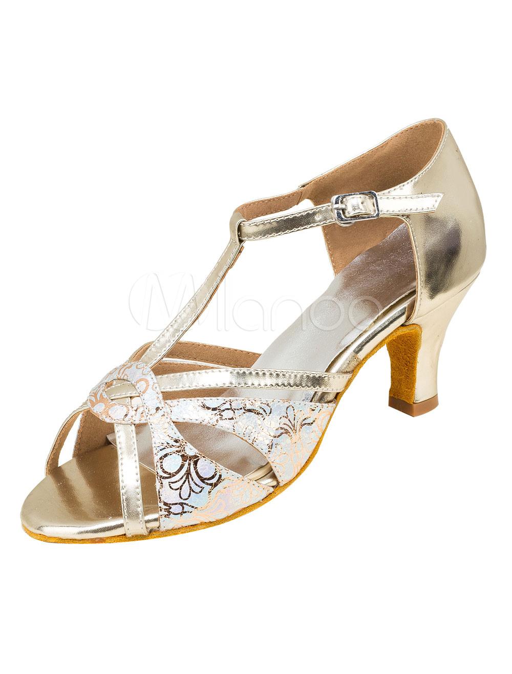 Zapatos de bailes latinos de PU Tacón bobina para baile de punter Peep Toe 8TGodtXr