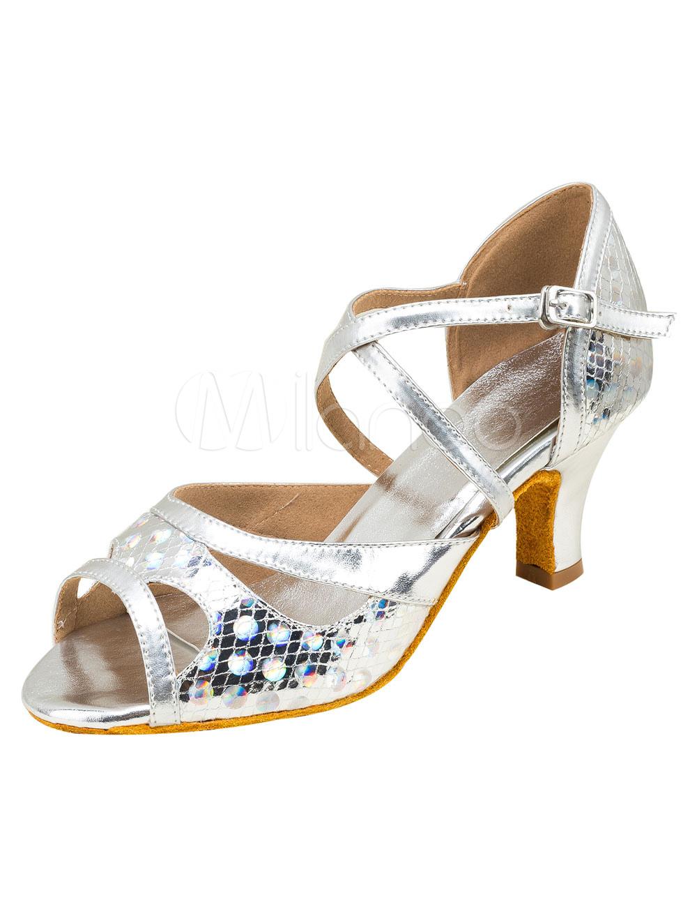 Zapatos de bailes latinos de punter Peep Toe Tacón bobina de PU para baile XxOMz