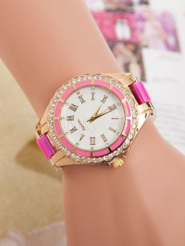 593a48a65929 ... Reloj Redondo con pedrería De aleación estilo moderno para mujer -No.4  ...