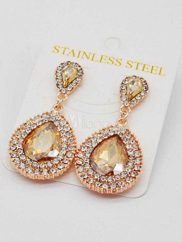 Champagne Ear Stud Women's Luxurious Rhinestones Alloy Pierced Earrings