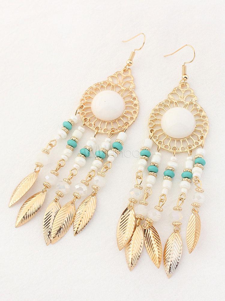 Buy Light Blue Earrings Women's Leaf Metal Details Turquoise Alloy Pierced Earrings for $5.94 in Milanoo store
