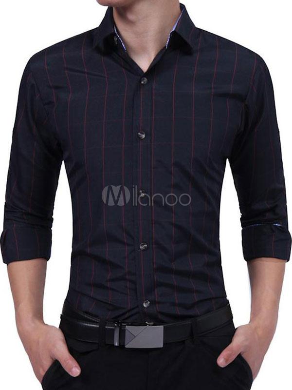 Buy Burgundy Casual Shirts Turndown Collar Long Sleeve Plaid Men's Slim Fit Shirt for $18.69 in Milanoo store