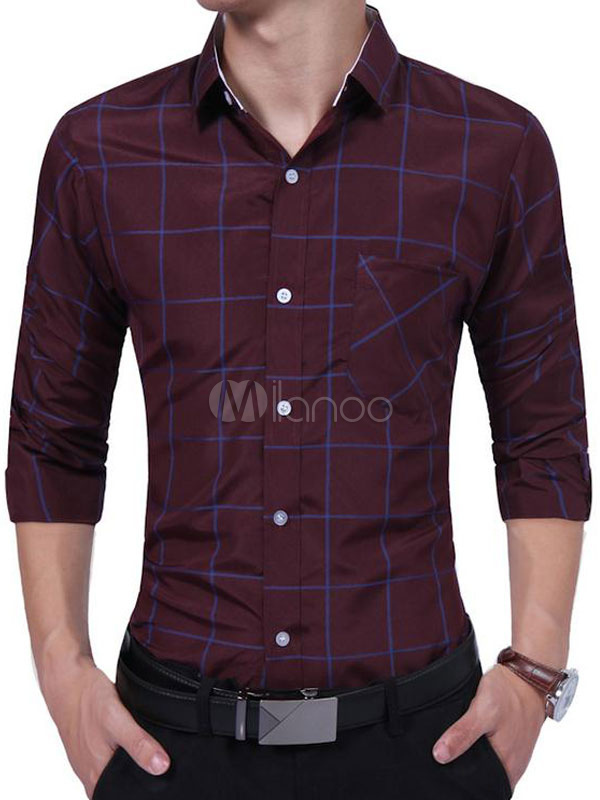 Buy Burgundy Casual Shirts Plaid Turndown Collar Long Sleeve Slim Fit Cotton Shirt for $18.69 in Milanoo store