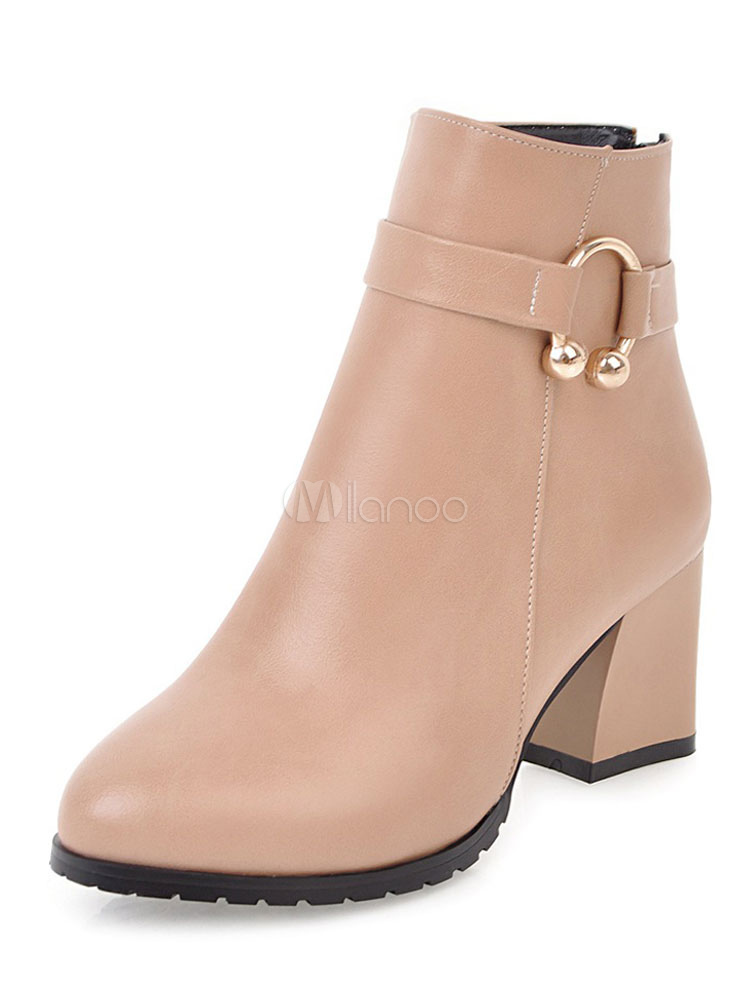 Buy Women's Ankle Boots Pink Pointed Toe PU Metal Detail Booties for $35.99 in Milanoo store