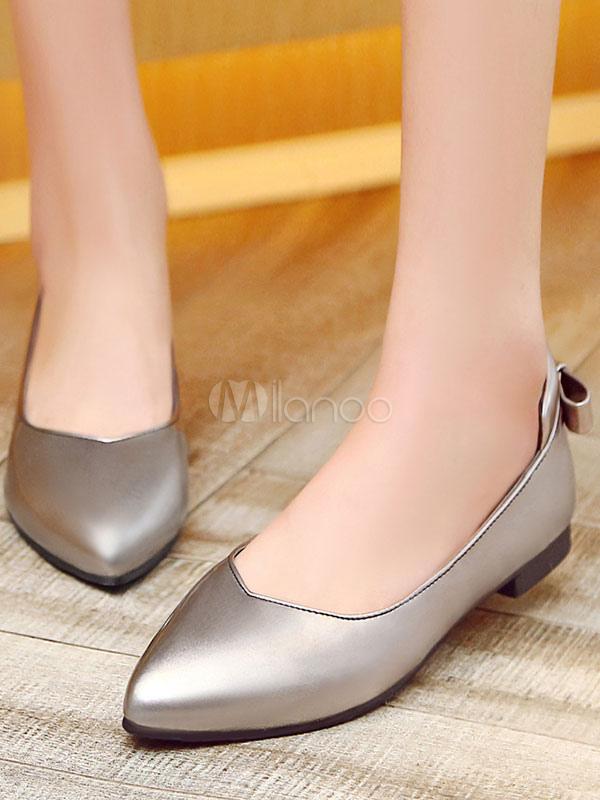 Zapatos planos de puntera puntiaguada slip-on Planos para mujer para pasar por la noche estilo moderno con lazo WAyXZNQH3a