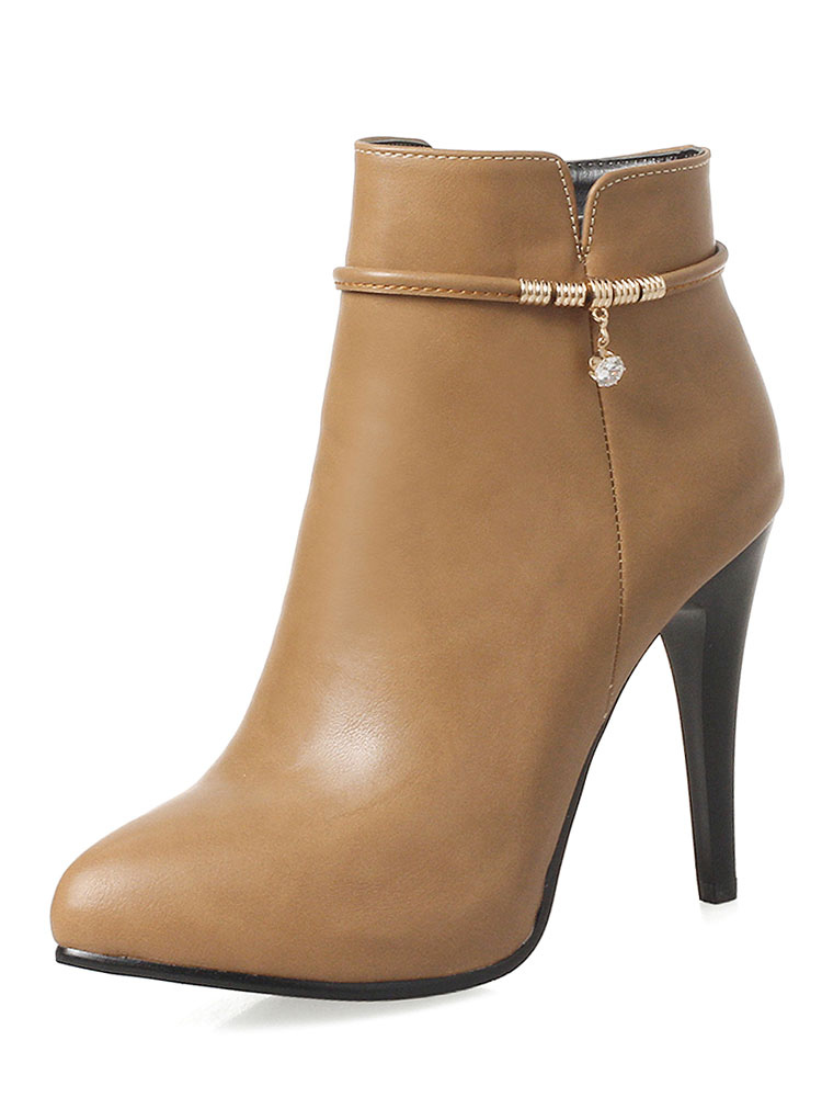 High Heel Booties Brown Pointed Toe Metal Detail Ankle Boots For Women