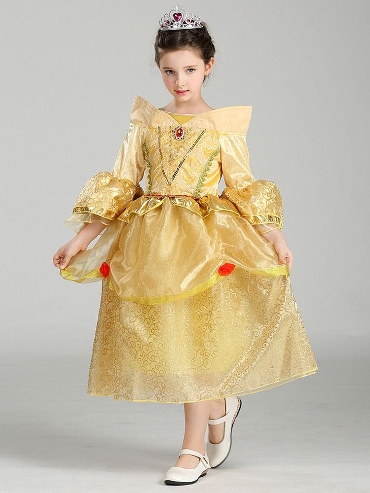 Beauty And The Beast Disney Princess Bell Halloween Kids' Costume Tulle Golden Dress Halloween