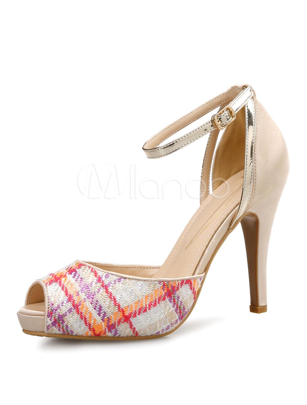 Zapatos de tacón de punter Peep Toe con dibujo retazados de tacón de stiletto m31bxXJ1T