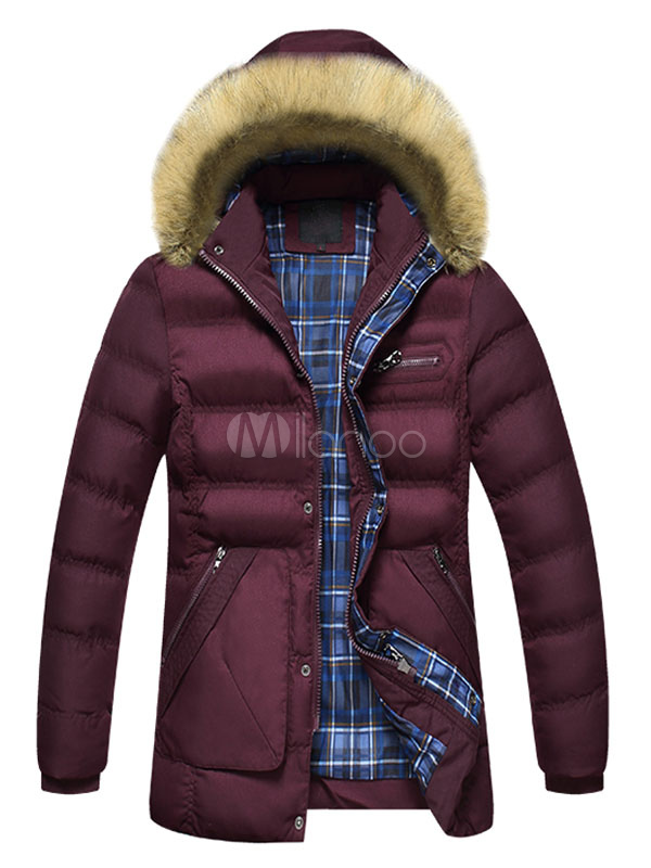 Buy Burgundy Quilted Jacket Hooded Faux Fur Long Sleeve Zip Up Men's Winter Coat for $52.24 in Milanoo store