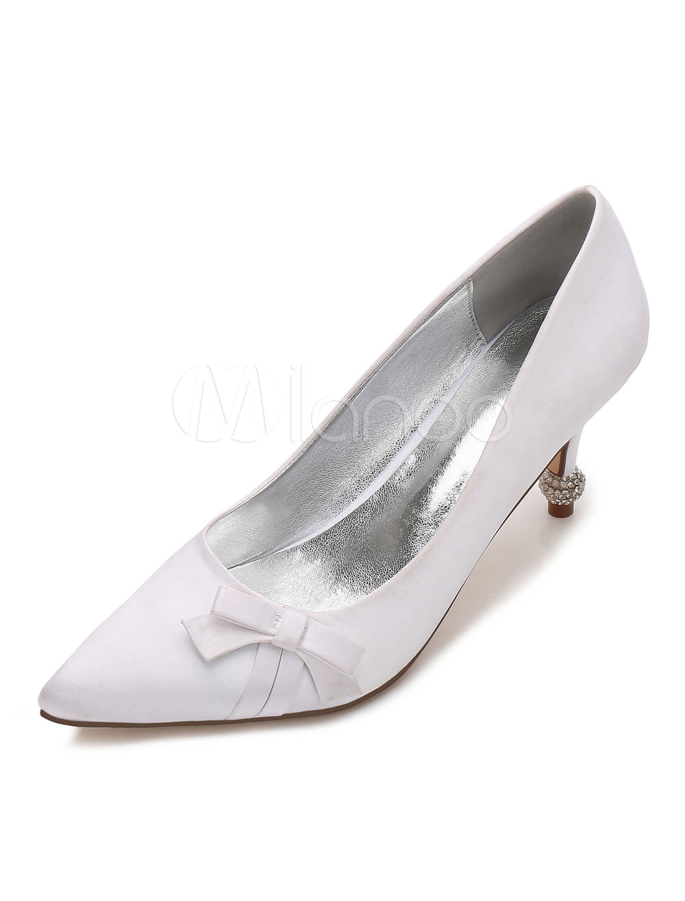 Buy White Wedding Shoes Satin Pointed Toe Bow Slip On Kitten Heel Bridal Shoes for $47.69 in Milanoo store