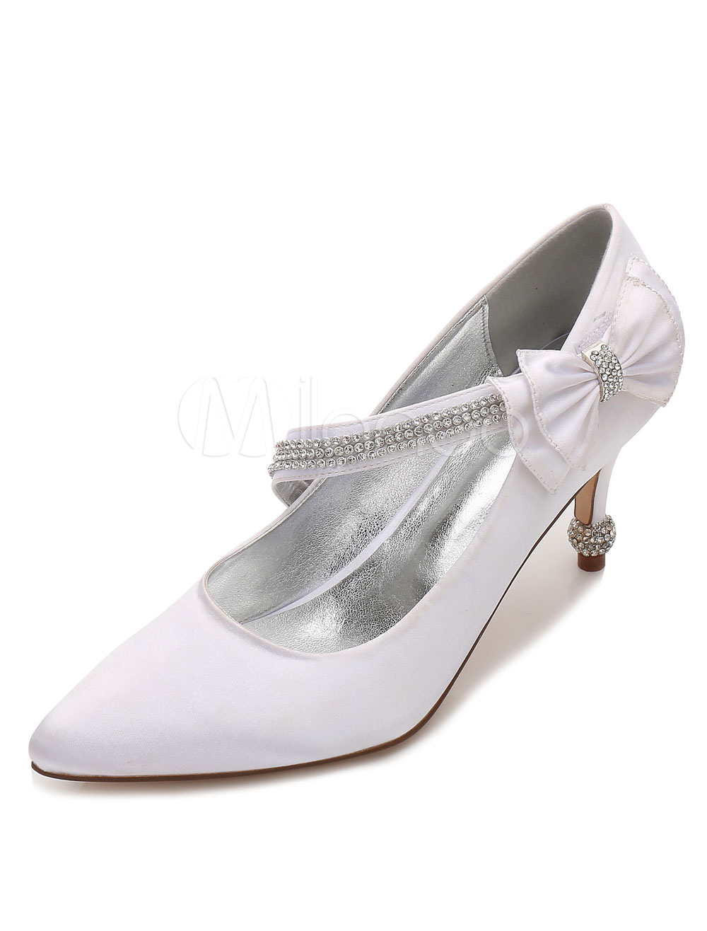 Buy White Wedding Shoes Satin Kitten Heel Pointed Toe Rhinestones Bow Bridal Shoes for $49.39 in Milanoo store