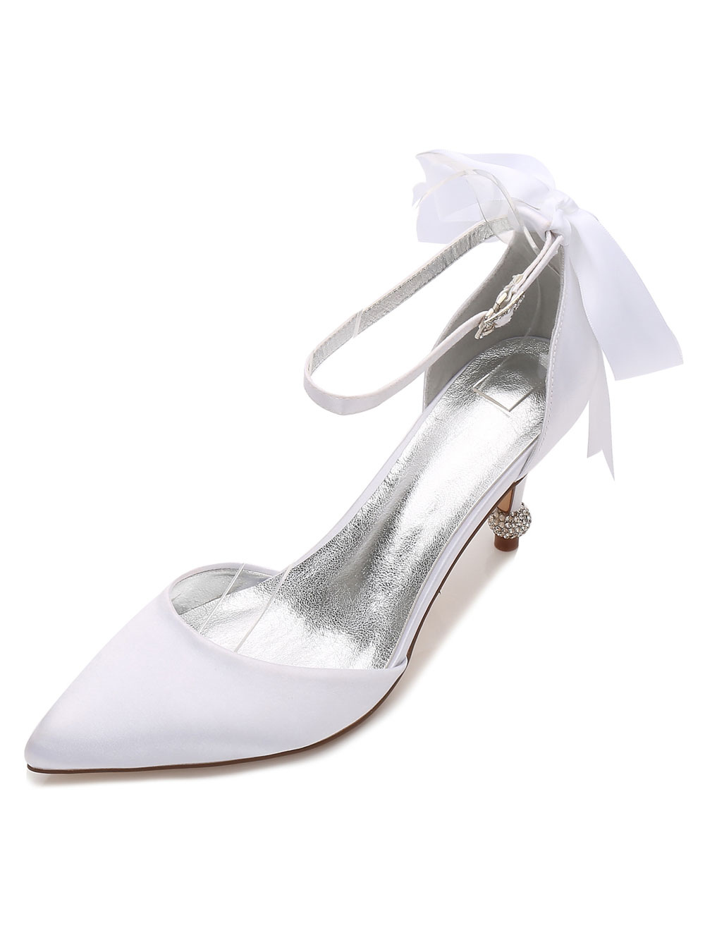 White Wedding Shoes Satin Pointed Toe Bow Kitten Heel Bridal Shoes For Women