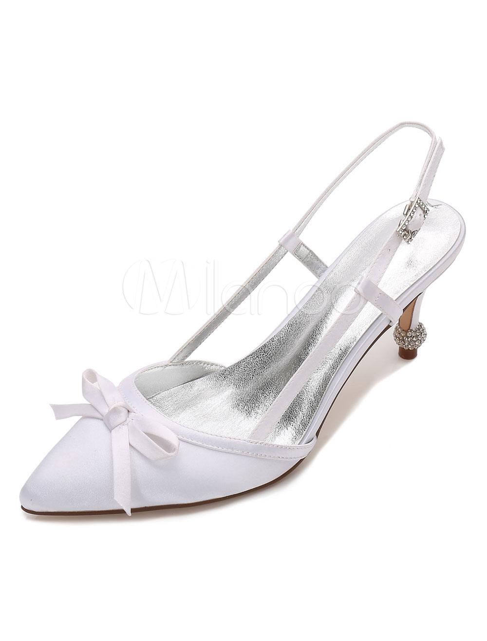 White Wedding Shoes Satin Kitten Heel Bow Slingbacks Bridal Shoes For Women