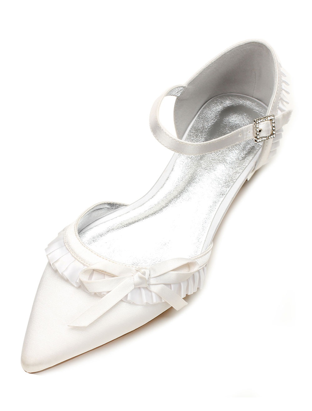 Ivory Wedding Shoes Satin Pointed Toe Ruffle Bow Buckle Detail Flat Bridal Shoes