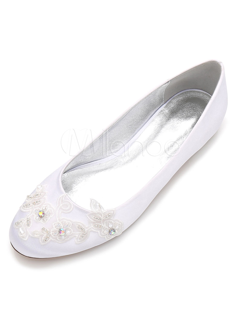 Buy White Wedding Shoes Satin Round Toe Rhinestones Flowers Beaded Flat Bridal Shoes for $44.99 in Milanoo store