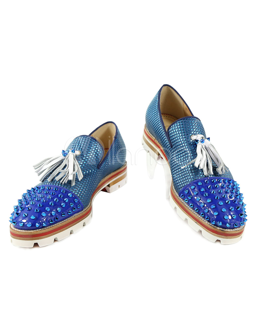 Buy Blue Dress Shoes Leather Men's Round Toe Rivets Beaded Slip On Loafers With Tassels for $87.49 in Milanoo store