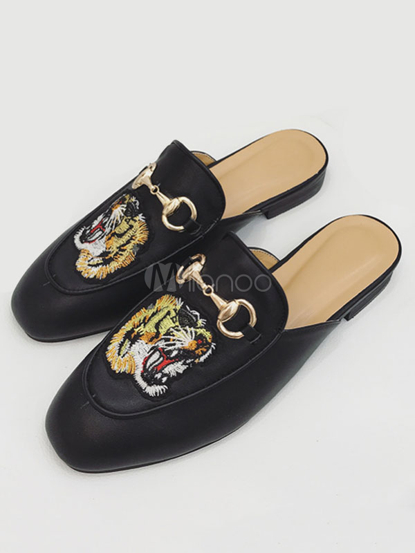 Buy Black Flat Mules Women's Square Toe Tiger Embroidered Metal Detail Backless Flat Shoes for $33.24 in Milanoo store