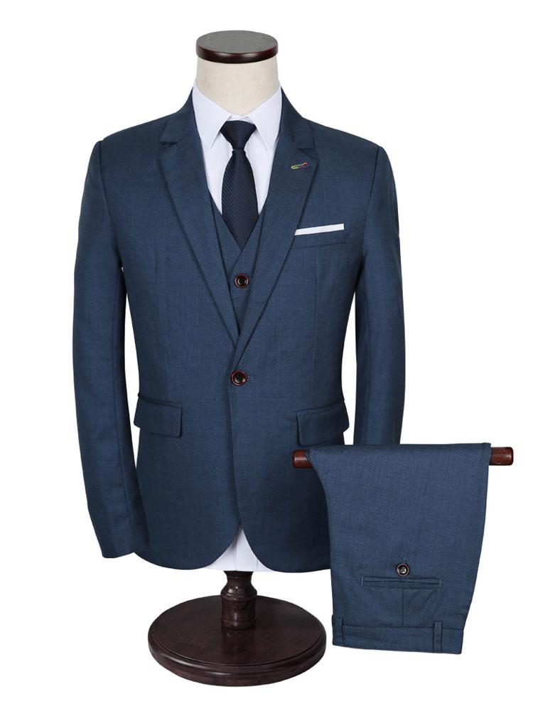 Men's Wedding Suit Deep Blue Lapel Collar Long Sleeve Tuxedo Suit In 3 Pcs