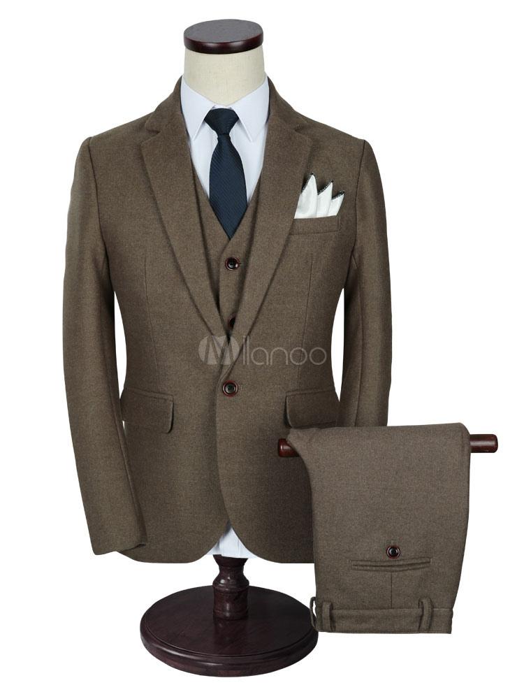Men's Wedding Suit Brown Lapel Collar Long Sleeve Tuxedo Suit In 3 Pcs