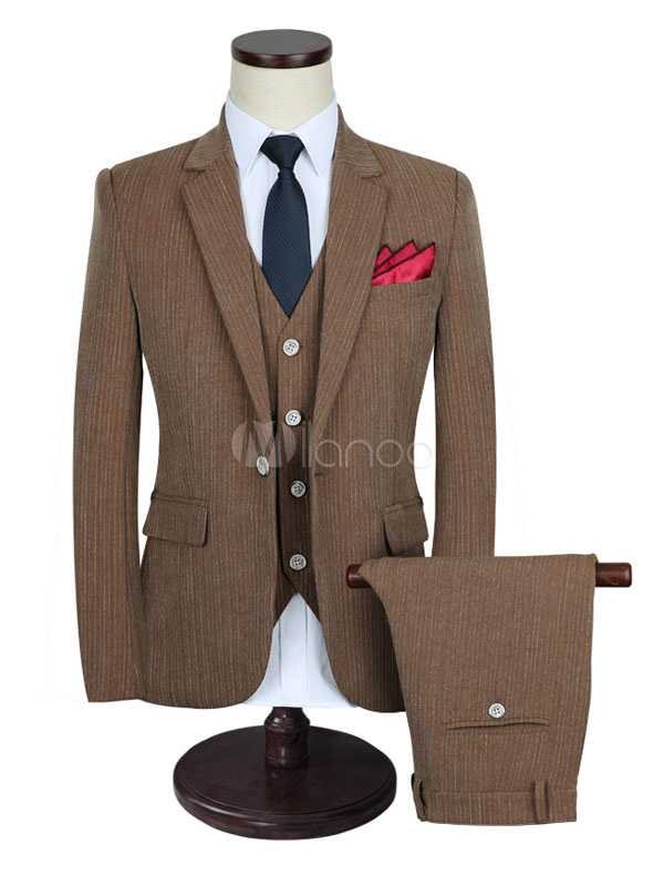 Groom Wedding Suits Tuxedo Brown Center Vent Notch Laple Men's Formal Wear