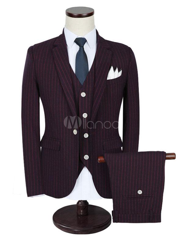 Groom Wedding Suits Tuxedo Burgundy Vertical Striped Center Vent Men's Formal Wear