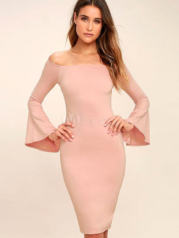 Pink Bodycon Dress Off The Shoulder Bell Sleeve Split Women's Pencil Dresses